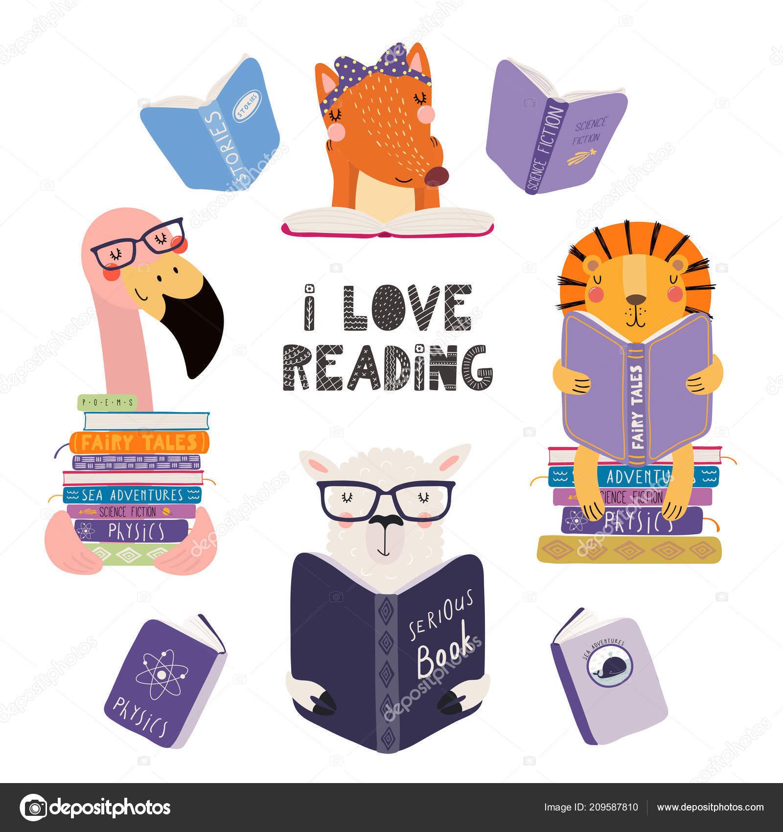 Satz Von Niedlichen Lustige Tiere Mit Büchern Und Zitat Ich