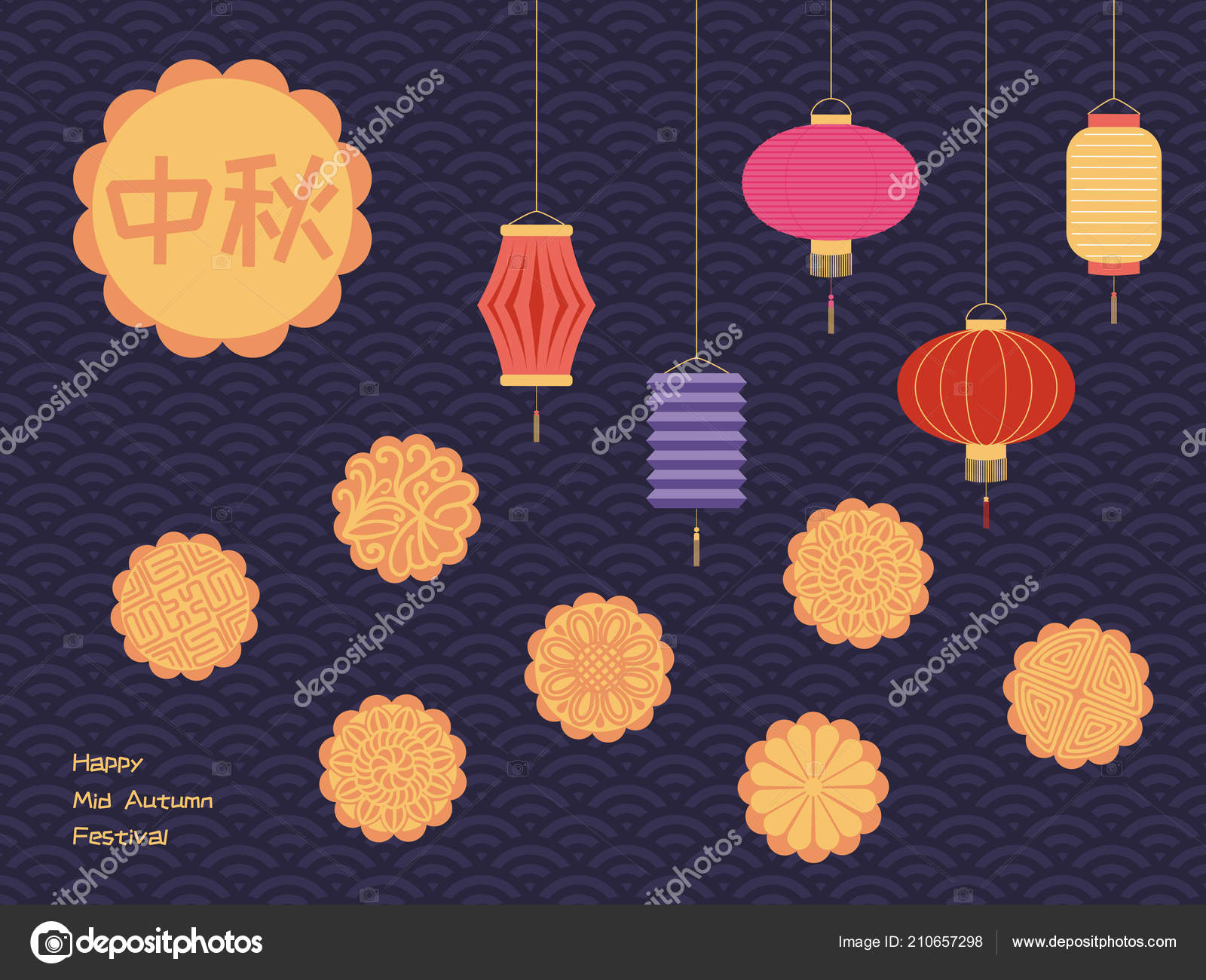 Mid Autumn Greeting Card Full Moon Lanterns Moon Cakes Chinese