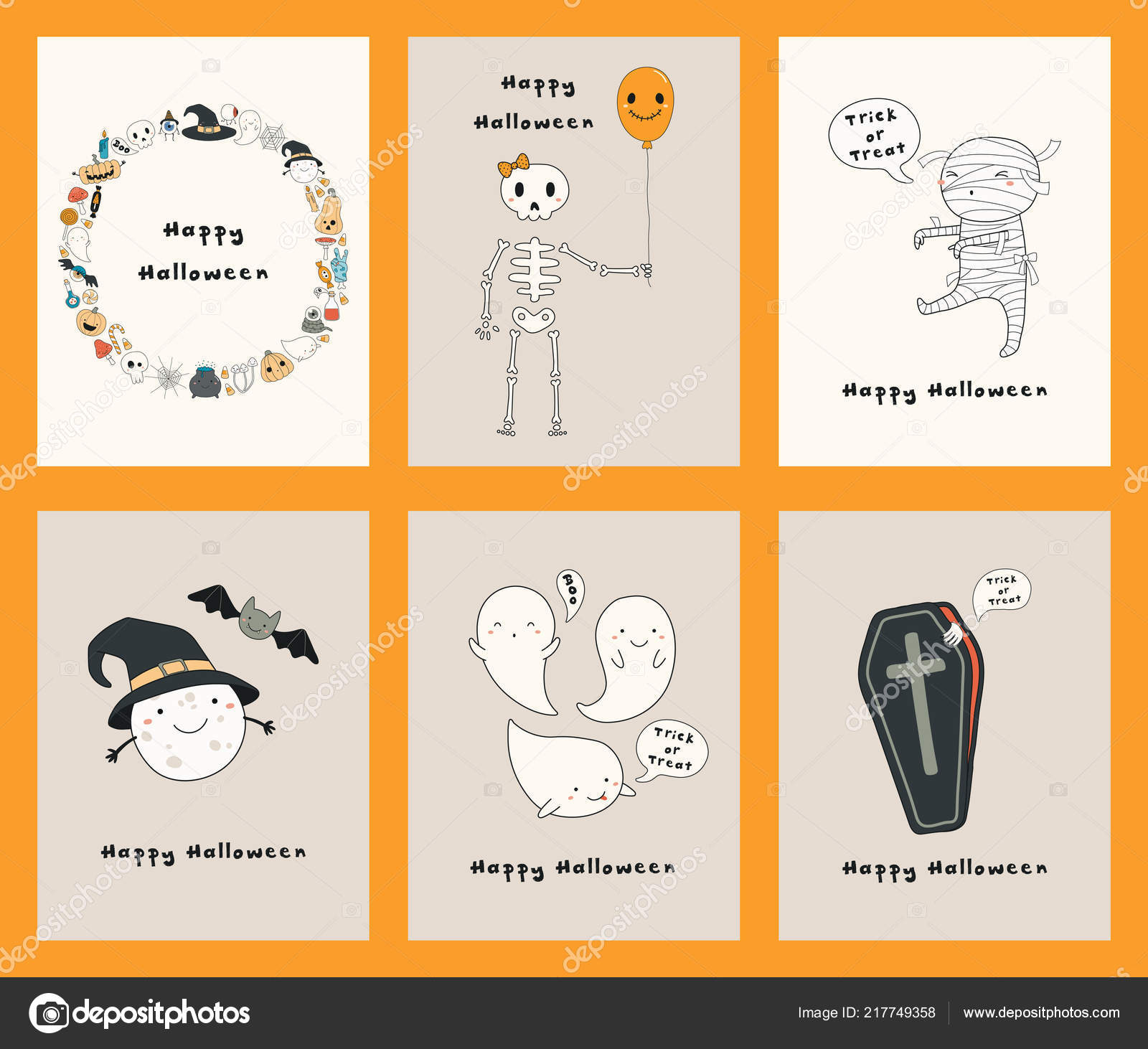 Set Halloween Hand Drawn Greeting Cards Kawaii Funny Characters Text Stock Vector