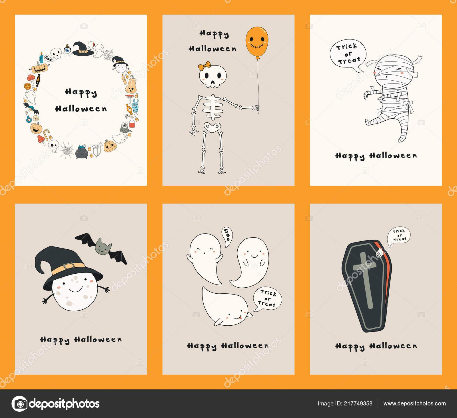 Jeu Halloween Dessinés Cartes Voeux Avec Drôles Personnages