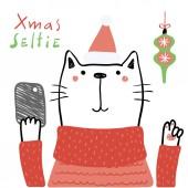 Fényképek Kézzel rajzolt vektoros illusztráció egy aranyos vicces macska egy Santa kalap a smartphone és a szöveg karácsonyi selfie, karácsonyi kártya koncepció