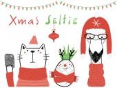 Fényképek Kézzel rajzolt vektoros illusztráció egy aranyos vicces ananász a flamingo és a macska a smartphone-val szöveg karácsony selfie, tervezési koncepció karácsonyi kártya