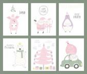 Fényképek A kézzel készült karácsonyi képeslapokat aranyos vicces rajzfilm Mikulás és a hóember-állatok, lapos stílusú design. Koncepció a nyaralási szezon