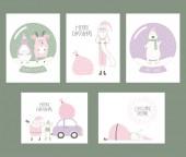 Fényképek A kézzel készült karácsonyi képeslapokat aranyos vicces rajzfilm Mikulás és állatokkal, lapos stílusú design elf. Koncepció a nyaralási szezon