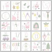 Fotografie handgezeichneter Adventskalender mit süßen lustigen Weihnachtsmännern und Elfen mit Schneemann und Tieren mit Urlaubsobjekten, flaches Design, Weihnachtskonzept
