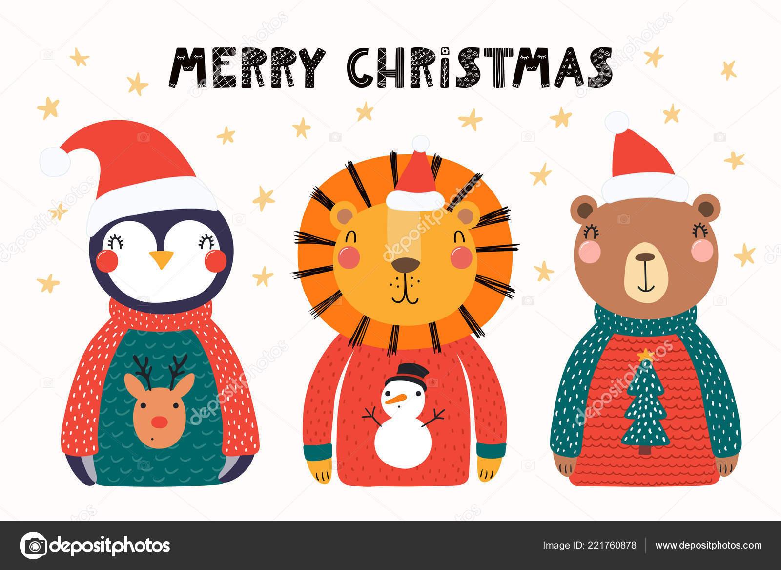 aa46d53a6e800 Hand Drawn Vector Illustration Cute Animals Lion Penguin Bear Santa ...