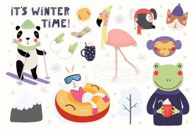 Big set with cute animals in winter playing in the snow, skiing, tubing, skating with text hello Winter time, Scandinavian style flat design, Concept for children card.