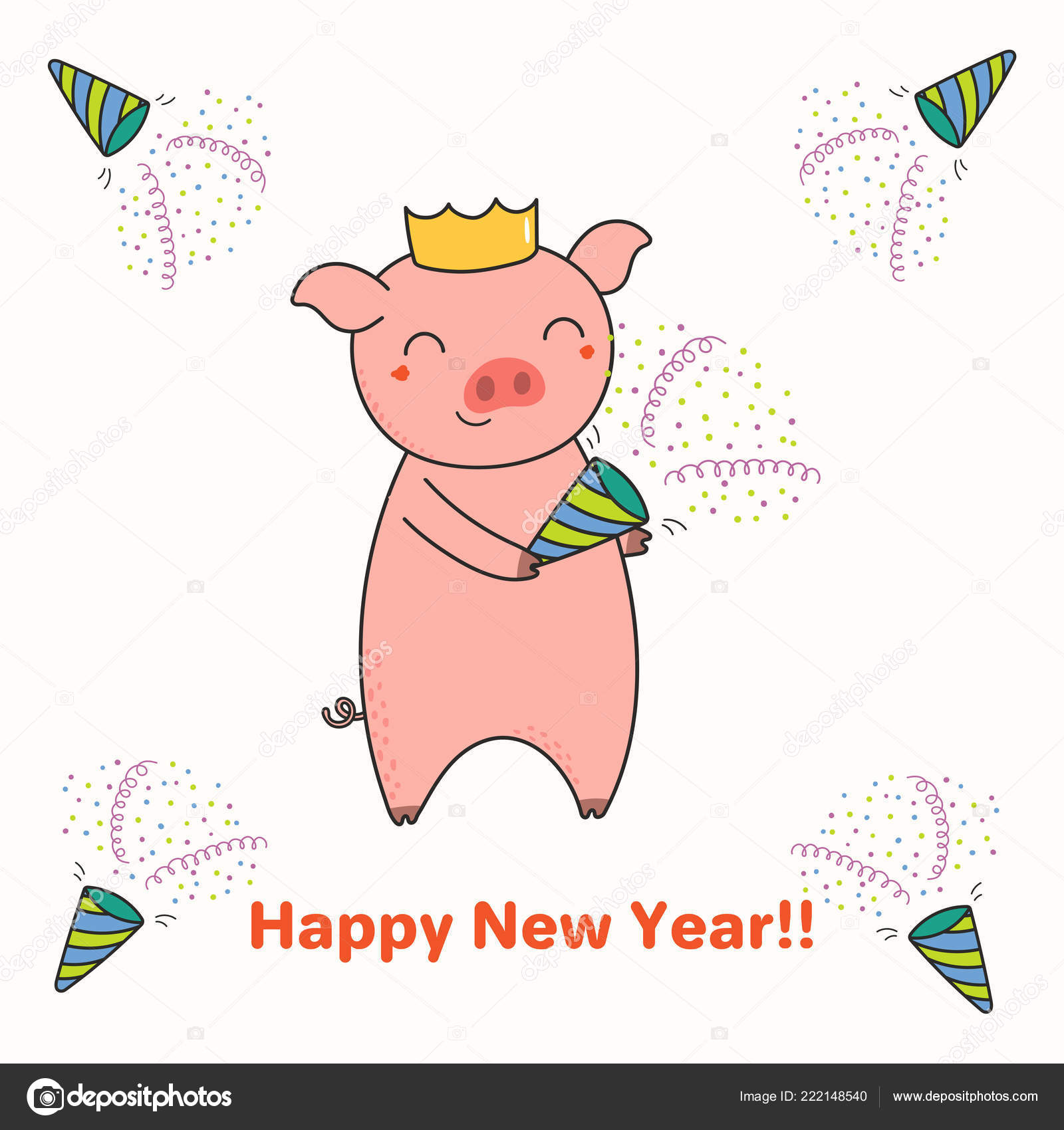 Hand Drawn New Year Greeting Card Cute Funny Pig Party Stock