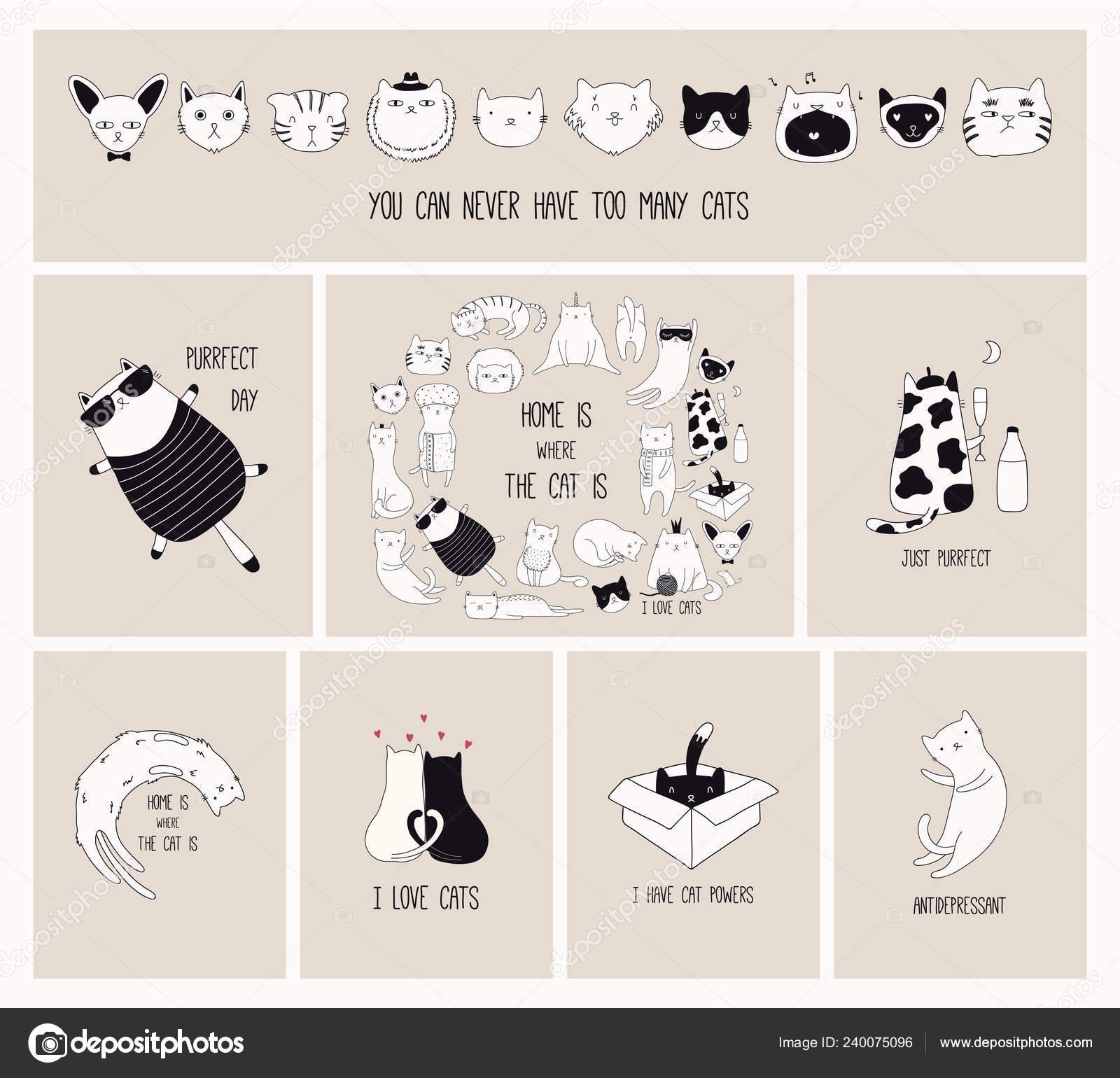 Conjunto Tarjetas Con Lindos Garabatos Monocromáticos Gatos