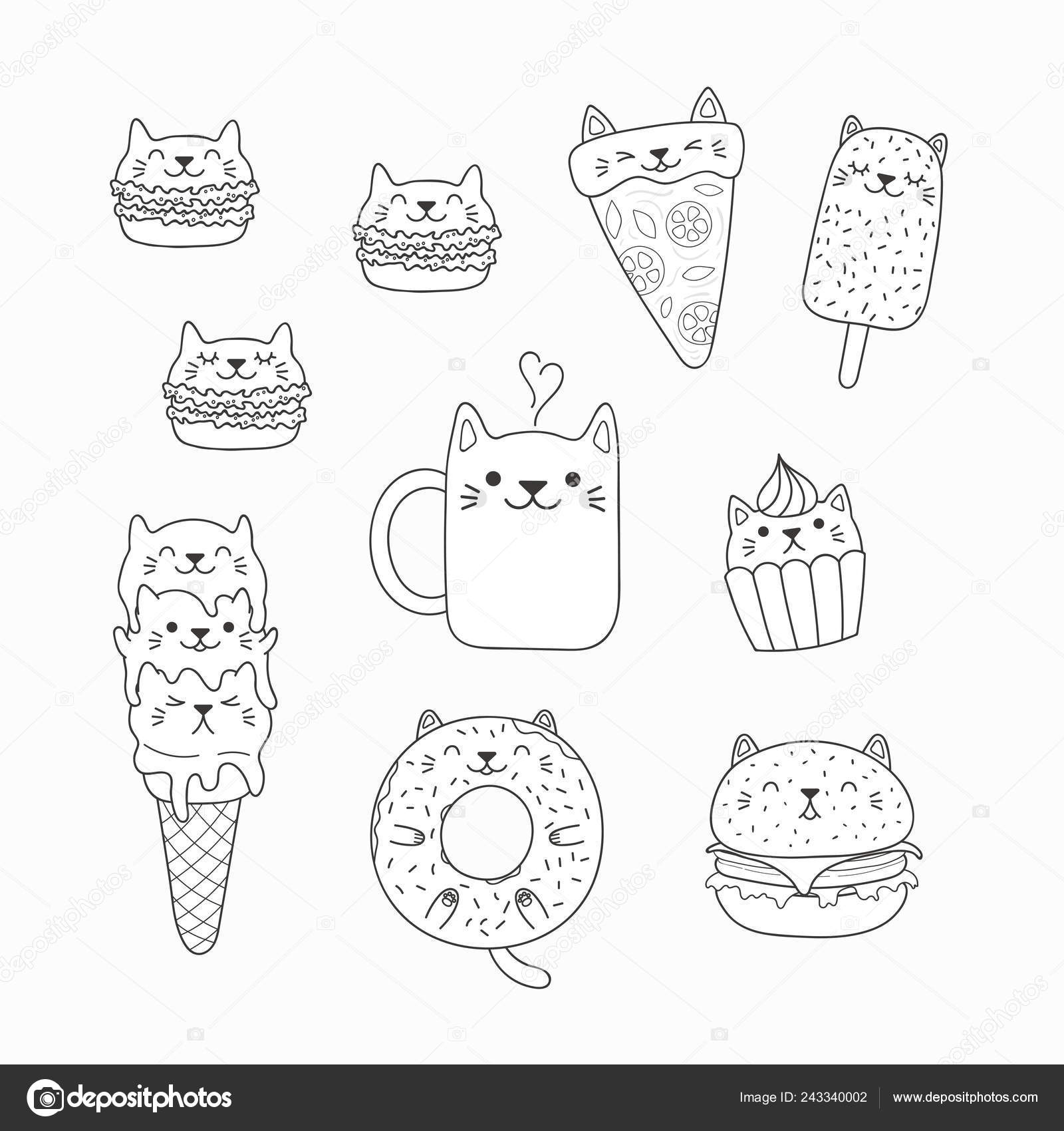 Conjunto Kawaii Garabatos Alimentos Con Orejas Gato Macarons