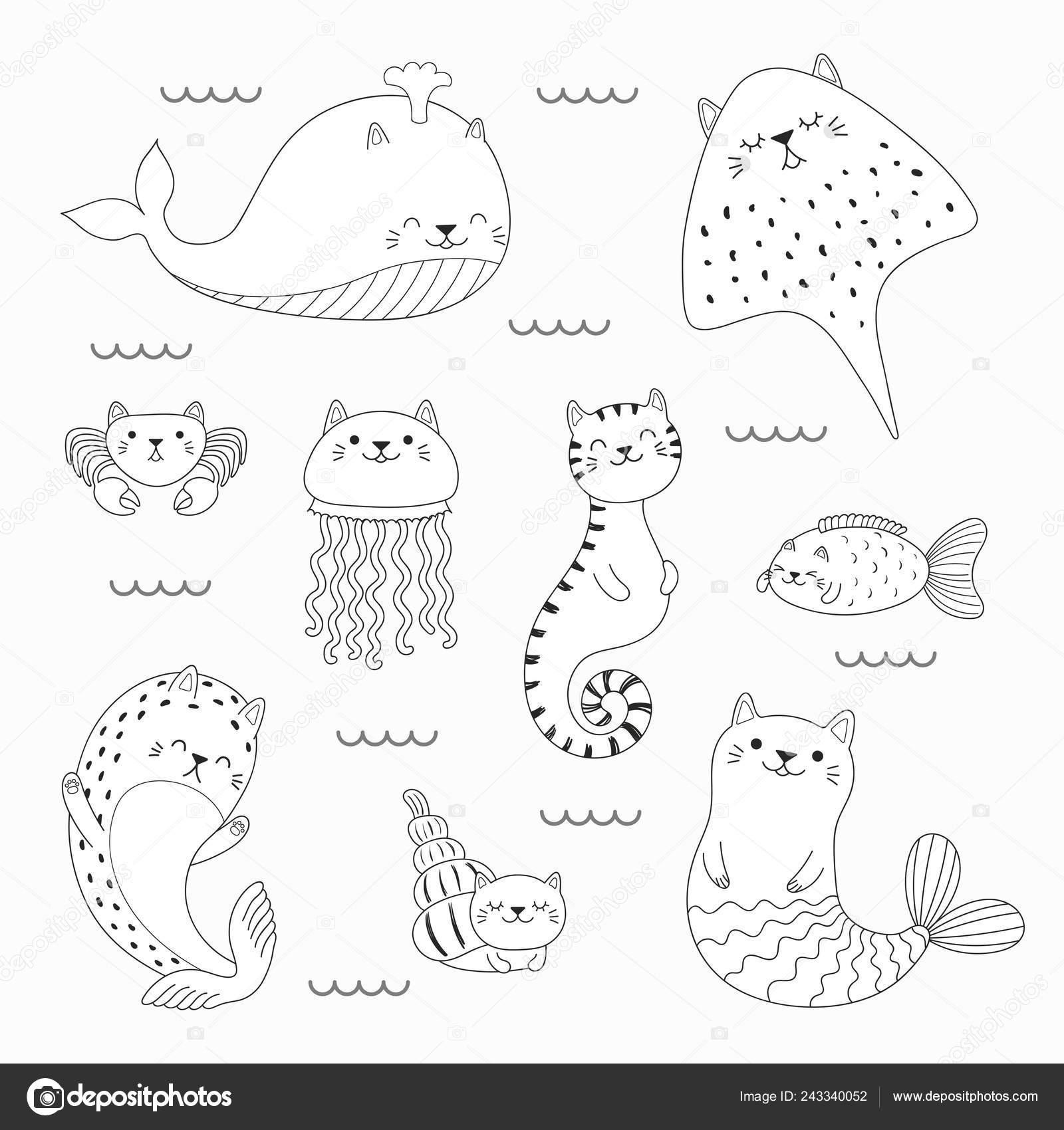 Insieme Dei Doodles Kawaii Animali Marini Con Balena Sirena Orecchie