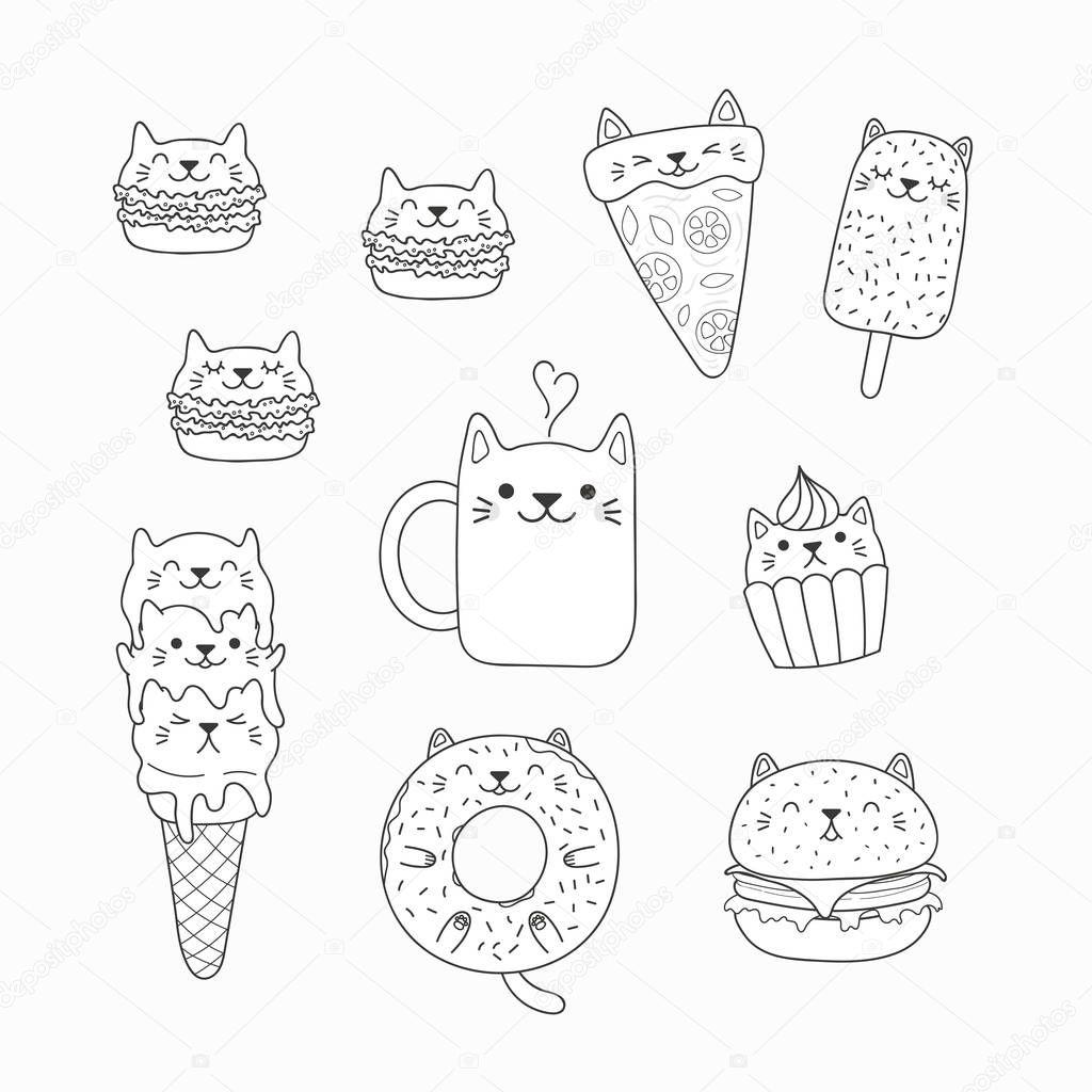 foto de Conjunto Kawaii Garabatos Alimentos Con Orejas Gato