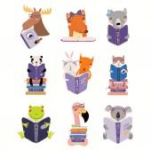 Velká sada s roztomilá zvířata, čtení knih, izolované na bílém pozadí. Plochý design skandinávský styl. Koncept pro děti tisk