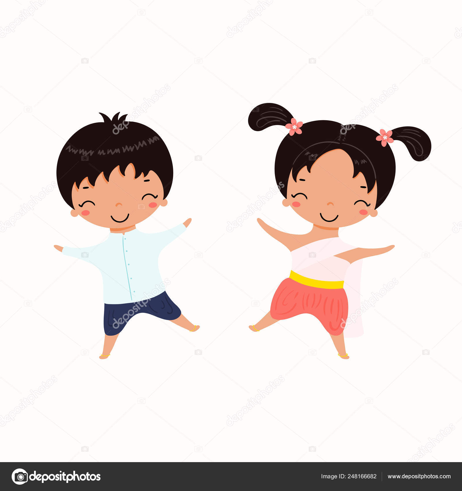3d6930260 Hand drawn vector illustration of kawaii children in Thai national costumes  isolated on white background. Concept holiday banner for Thailand travel ...