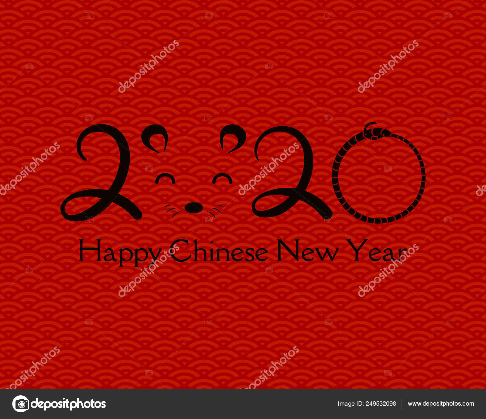 Chinese New Year Holiday 2020.2020 Chinese New Year Greeting Card Numbers Rat Face Red