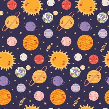 Hand drawn seamless vector pattern with cute Solar system planets and stars in space on dark background. Scandinavian style flat design. Concept for children textile print