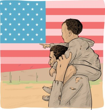 Father and son immigrant in front of the USA flag stock vector
