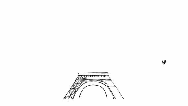 Načrtněte animace Eiffelova věž Paříž s ptákem na pozadí oblohy, Francie