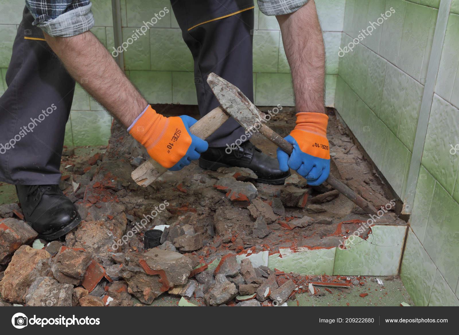 Worker Remove Demolish Old Bathtub Tiles Hammer Chisel