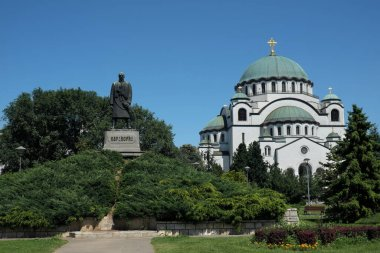 Belgrade, Serbia, July 10.2020 : Saint Sava Church and Karadjordje monument in Belgrade Serbia, Europe. It is one of the largest orthodox churches in the world