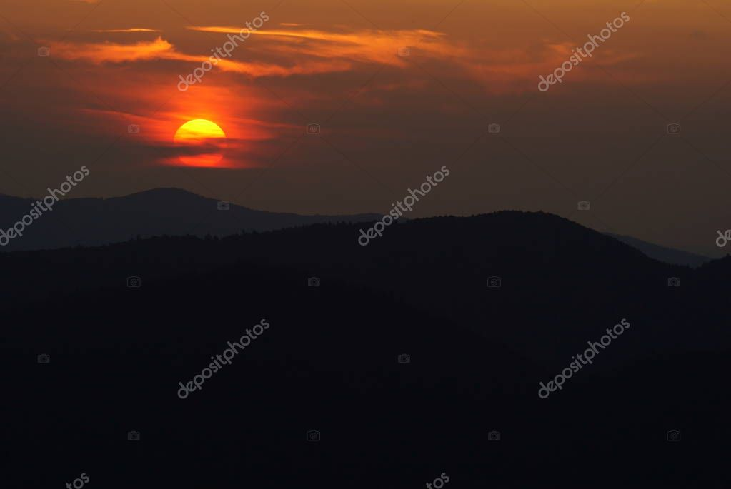 Sun over the mountains. Bieszczady National Park. Poland. Polonina Wetlinska, Polonina Carynska,Tarnica