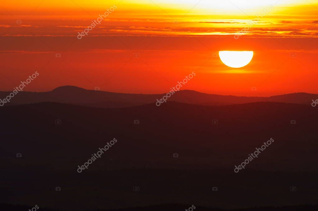 Sun over the mountains. Bieszczady National Park. Poland.