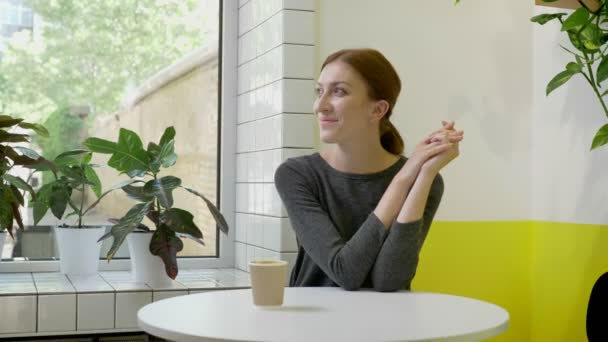 Young beautiful woman with ponytail sitting in cafe and looking in window and in camera, smiling