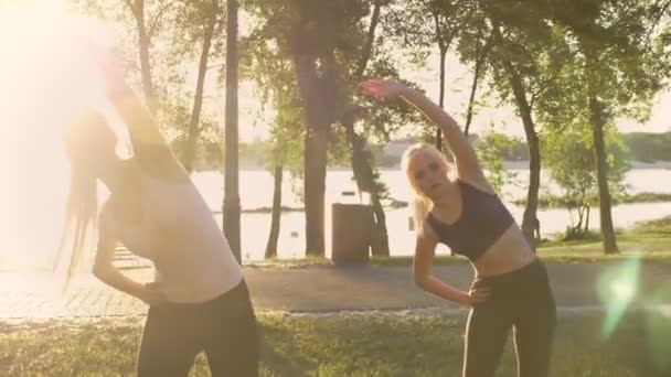 Two young charming womans with ponytails exercising in park, weight loss, lens flare and beautiful view background
