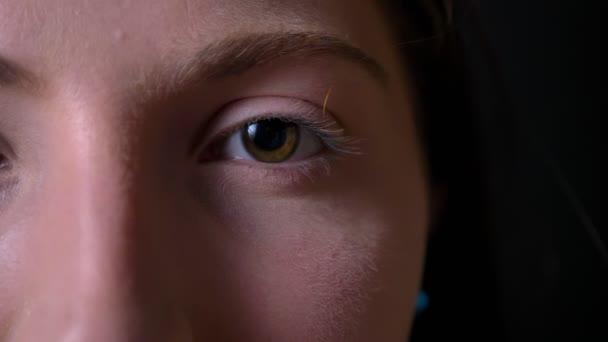 Zárja be a felvétel a fiatal gyönyörű nő zöld szem, arc, fekete háttér, szépség portré elszigetelt része