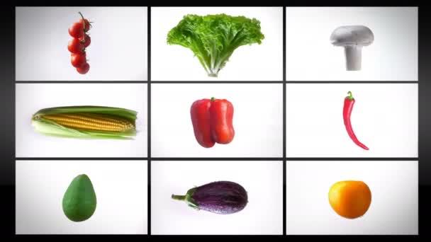 Montázs forgó nedves zöldség, egy fehér háttér, kollázs