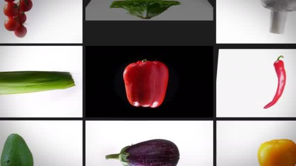 Oddálit sestřih spinning mokré rozmanité zeleniny, na bílém pozadí, fotokoláž