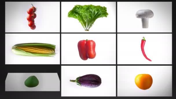 Montázs forgó nedves változatos zöldség, egy fehér háttér, kollázs.