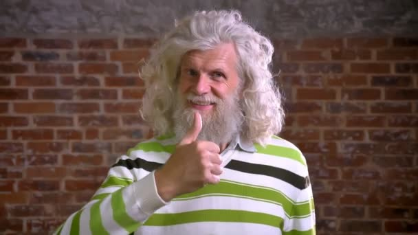Smajlík neobvyklé moderní starý muž s bílým vousem velké stojí vesele v brick studio, moderní pohled na