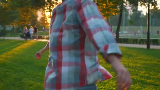 Amazing casual loving couple is running while holding their hands in park, having fun, , sunny day and motion shooting, energetic illustration