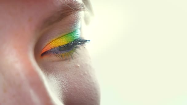 Closeup eye in rainbow eyeshadows looking at camera, green, yellow and blue, white background, pure face in cosmetics