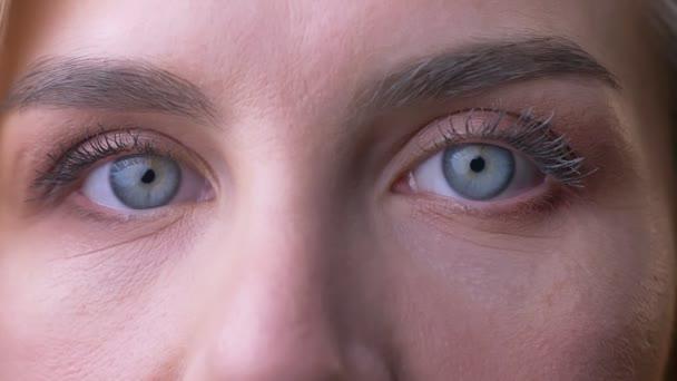 Detail portrétu středního věku kavkazské Zenske modré oči dívat do kamery
