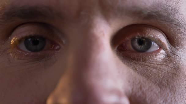 Detail očí Portrét muže středního věku kavkazské dívat klidně a přímo do kamery na černém pozadí.