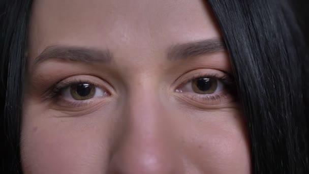 Detailní portrét mladé kavkazské černé vlasy ženské hnědé oči s úsměvem a výraz obličeje při pohledu přímo na kameru