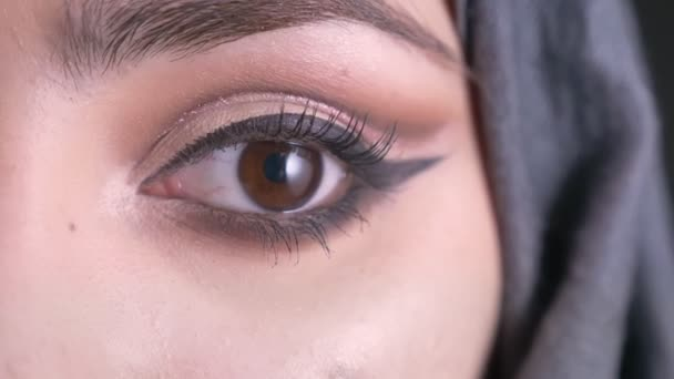 Close-up half-portrait of concentrated young muslim woman in hijab with make-up watching into camera on black background.