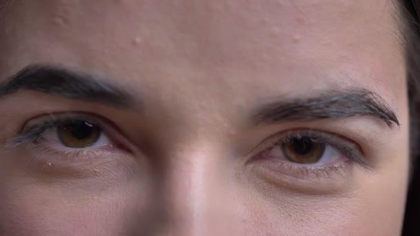 Nahaufnahme Augenporträt der jungen übergewichtigen brünetten Kaukasierin, die ernsthaft in die Kamera auf schwarzem Hintergrund schaut.
