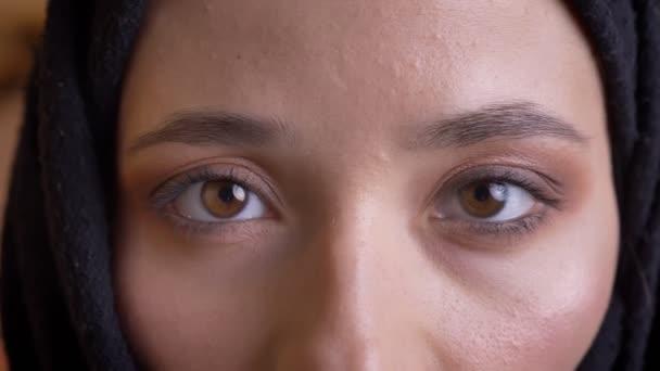 Vértes portré fiatal gyönyörű Arab nő szép barna szemekkel nézett egyenesen a kamera a mosolygó arc kifejezése.