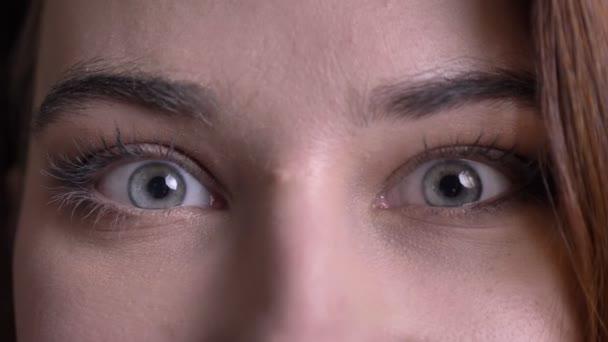 Detailní portrét mladé krásné kavkazské ženské tváře s docela modrýma očima díval přímo na kameru