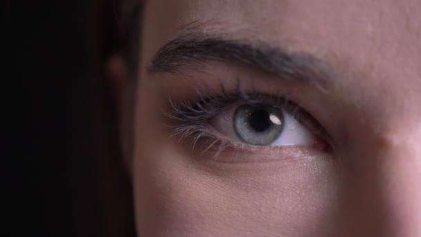 Vértes fél arcát portré fiatal gyönyörű kaukázusi fem, ale arcát, kék szemmel nézett egyenesen a kamera a mosolygó arc kifejezése