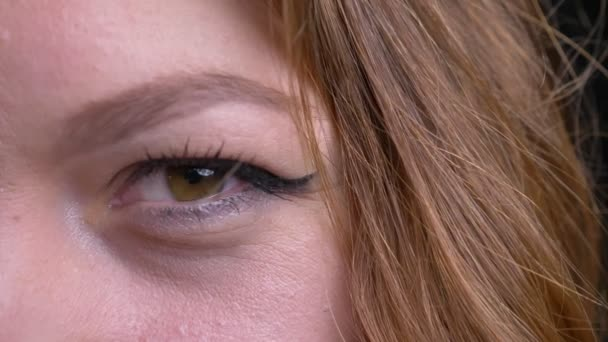 Vértes fél arcát portréja kaukázusi felnőtt női arc, zöld szeme nézett egyenesen a kamera.