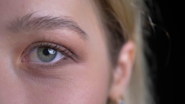 Closeup, napůl tvář, krásná bělošská samice s blond vlasy a modrými očky, vypadající přímo na kameru