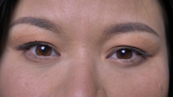 Vértes-lő a fiatal ázsiai vonzó női arc szemmel nézett egyenesen a kamera a mosolygó arc kifejezése, elszigetelt zöld háttérrel