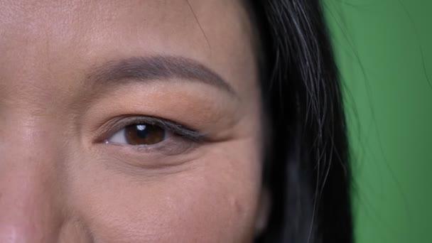 Vértes fél arcát lőni a fiatal, vonzó ázsiai női arc szemmel nézett egyenesen a kamera a mosolygó arc kifejezése, elszigetelt zöld háttérrel