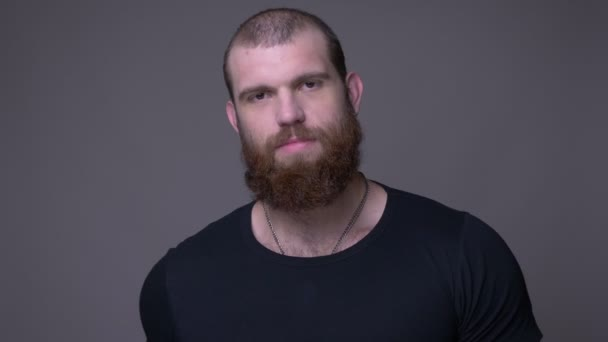 Closeup shoot of adult handsome caucasian man with beard showing his strong muscles looking at camera with background isolated on gray
