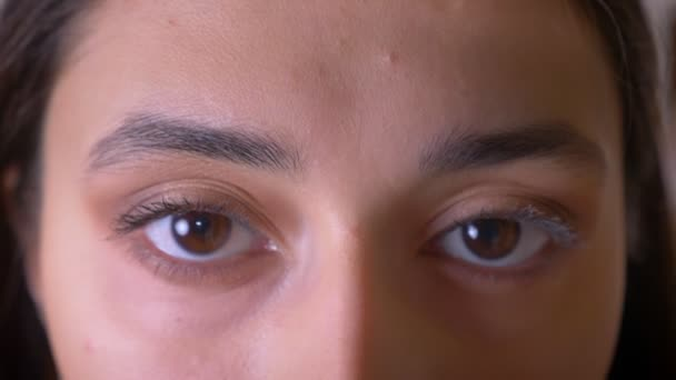 Close-up eye-portrait of stylish brunette teacher watching calmly into camera and blinking.