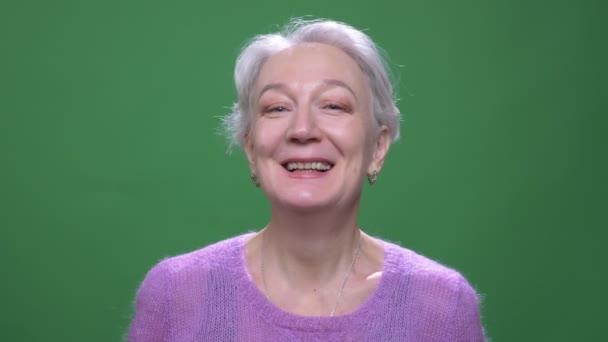 Senior grauhaarige Frau in violettem Pullover lächelt hübsch in die Kamera isoliert auf grünem Chromakey-Hintergrund.